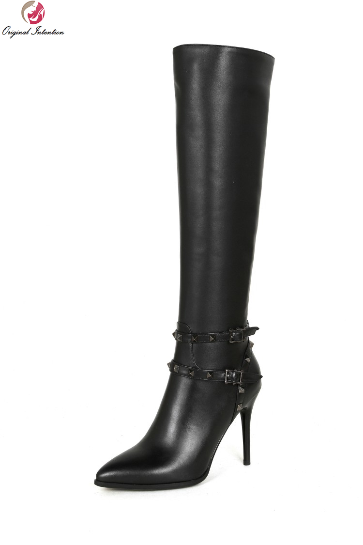 Original Intention Fashion Women Knee High Boots Stylish Pointed Toe Thin High Heels Boots Black Shoes Woman Plus Size 3-10.5 original intention high quality women knee high boots nice pointed toe thin heels boots popular black shoes woman us size 4 10 5