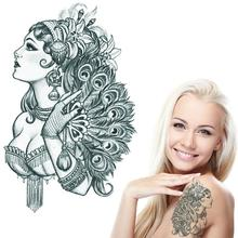 Noble Feminine Tattoos Water Transfer Paper Temporary Tattoos For Women Girls Phoenix Lupine Lady Tatuagem Temporaria AX98