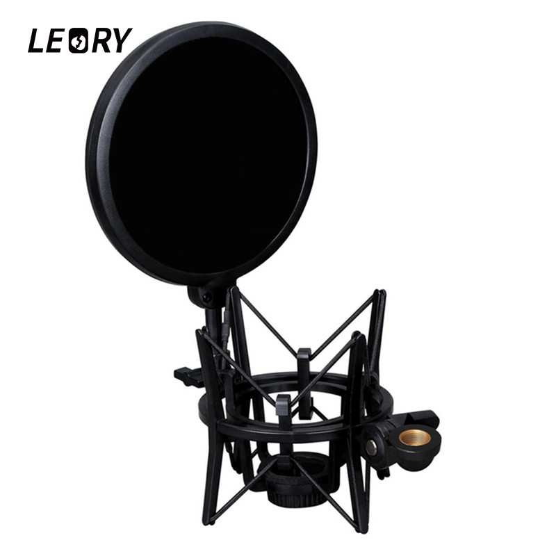 LEORY Professional Microphone Shock Mount And Pop Shield Filter Screen For Sound Recording Karaoke Microphone Mic PC KTV Singing studio mini microfone professional microphone mic wind screen pop filter for koraoke video singing recording cover mask shield