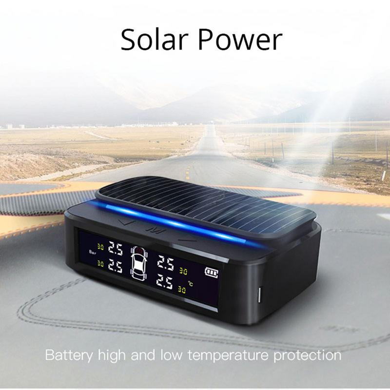 Car Tire Pressure Monitor System Solar Power TPMS Tire Data Detector Internal/External Sensors Security Alarm System With Light