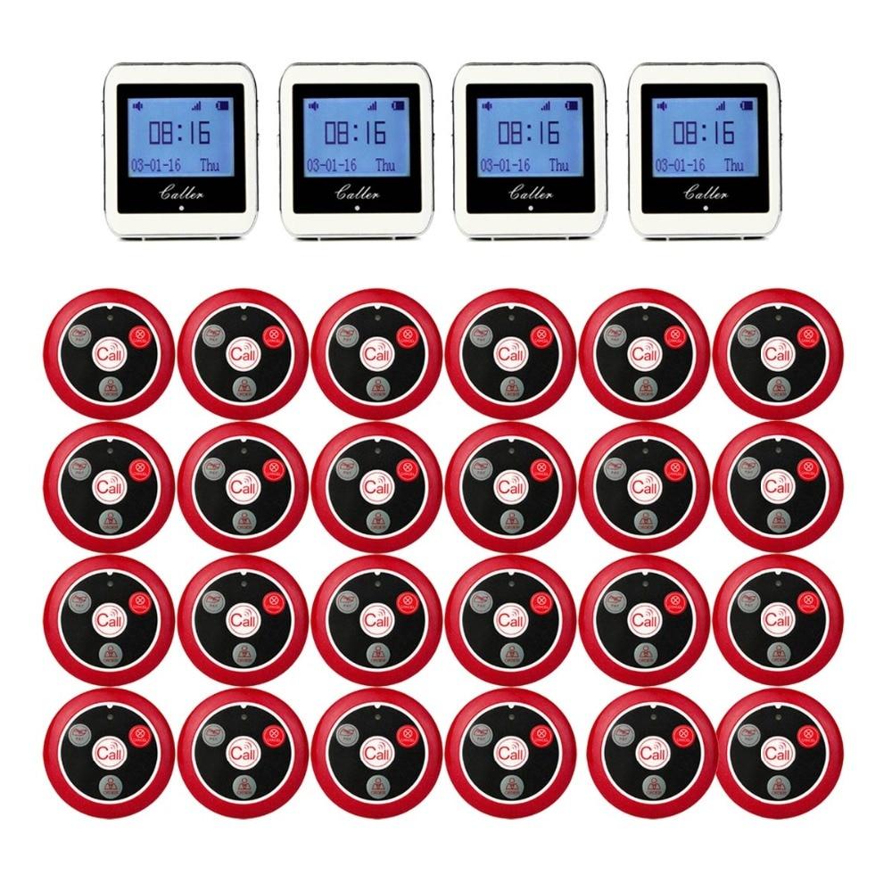 Retekess Senza Fili 4 Orologio Da Polso Ricevitore + 24 Trasmettitore di Chiamata Pulsante di Chiamata Cercapersone A quattro chiave Cercapersone Ristorante Attrezzature F9408