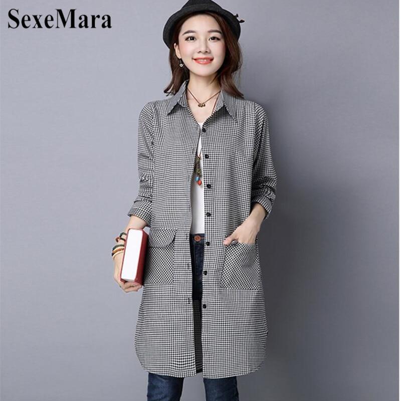 SexeMara Korean Version Of Large Size Lapel Cotton And Black And White Plaid Long Loose Shirt Female Blusas Mujer De Moda 2019 (7)