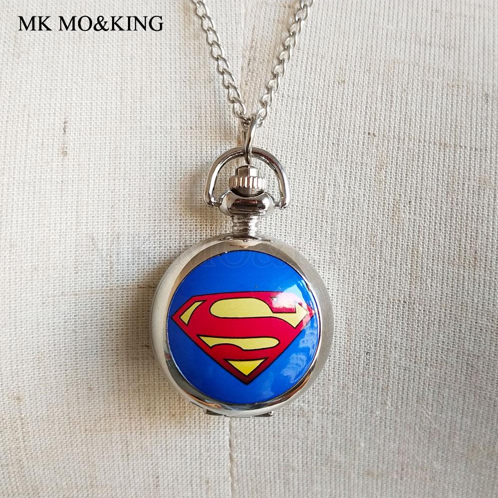 3D Superman Cartoon Watch Casual Children's Watches Quartz Clock With Chain Necklace Pendant Gift For Children Boy Girl