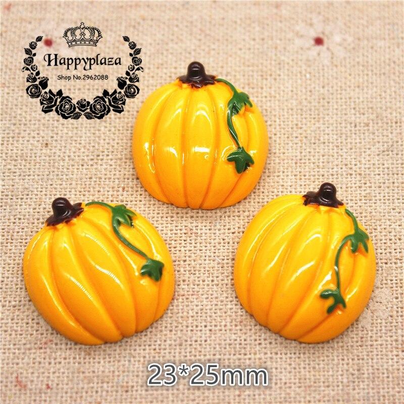 10pcs Cute Resin Pumpkin Simulation Miniature Food Art Flatback Cabochon DIY Craft Decoration,23*25mm