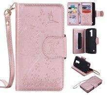 Розовое золото девушка кошка тиснение карты 9 Слот Бумажник кожаный Стенд Флип Новый чехол для LG K8 случае