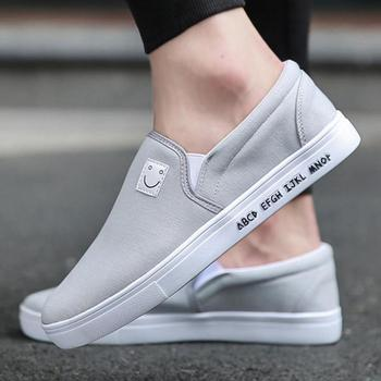 Mens Canvas Shoes Casual Loafers Flats Breathable Comfortable Non-slip Rubber Driving Shoes Slip On Outdoor Walking Loafer Man slip-on shoe