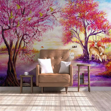 European forest tree elk swan lake wall professional production murals, wallpaper wholesale, custom poster photo