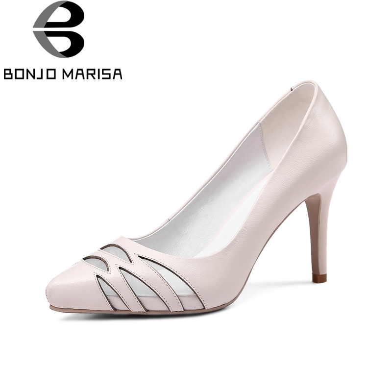 BONJOMARISA 2018 Summer Elegant Genuine Leather Women Pumps Breathable Mesh Ol Shoes Woman High Heels Shallow Lady slip-on Shoe wdzkn 2017 summer autumn breathable genuine leather high heels women platform shoes black white slip on women wedge casual shoes