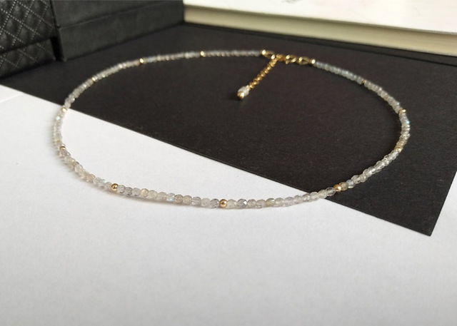 LiiJi Unique Choker Necklace Labradorite Faceted Beads 925 Sterling Silver Chian Clasp Necklace 40 50cm 16 20 Mothers Gift