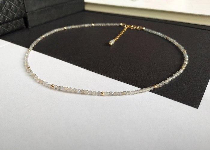 nacklace LiiJi 독특한 초커 목걸이 Labradorite orite면 처리 된 비즈 925 스털링 실버 Chian 걸쇠 목걸이 40-50cm 16-20 ''어머니 선물
