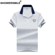 b9647f493 SHOWERSMILE زائد حجم قميص بولو الرجال رمادي التطريز تيز الأزياء الذكور  قصيرة الأكمام عالية الجودة القطن
