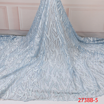 Sky Blue African Lace Fabric 2019 High Quality Lace Sequins Fabrics French Nigerian Lace Fabric Embroidery For Wedding GD2738B-5