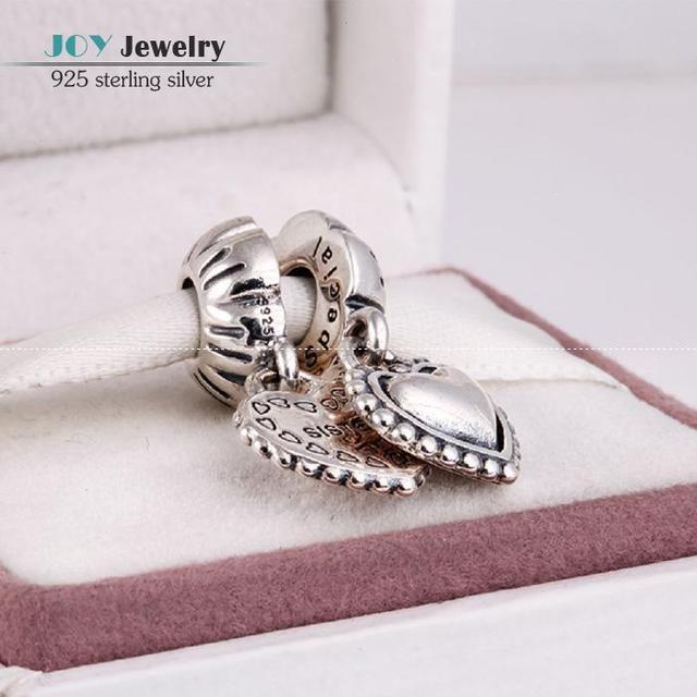 Antiguo auténtica plata de ley 925 mi hermana del corazón cuelga los encantos DIY accesorios de la joyería para mujer de marca europea pulseras