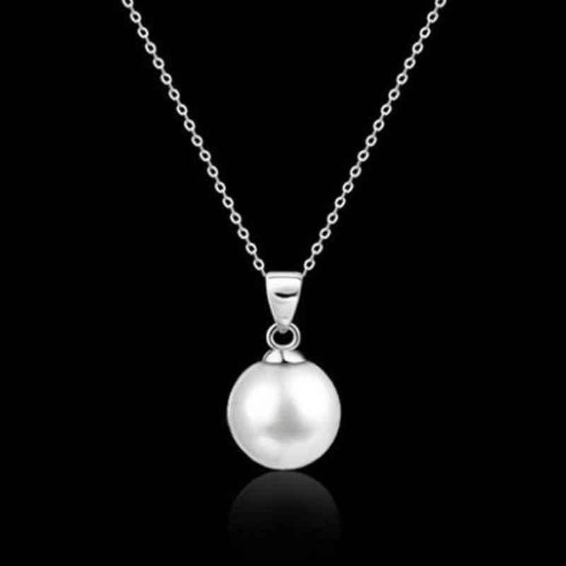Womens Fashion Genuine Natural Black White Freshwater Pearl Pendant Necklace Silver Chain Jewelry For Women