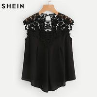 SHEIN Keyhole Back Daisy Lace Shoulder Shell Top Summer Sexy Womens Tops And Blouses Black Sleeveless