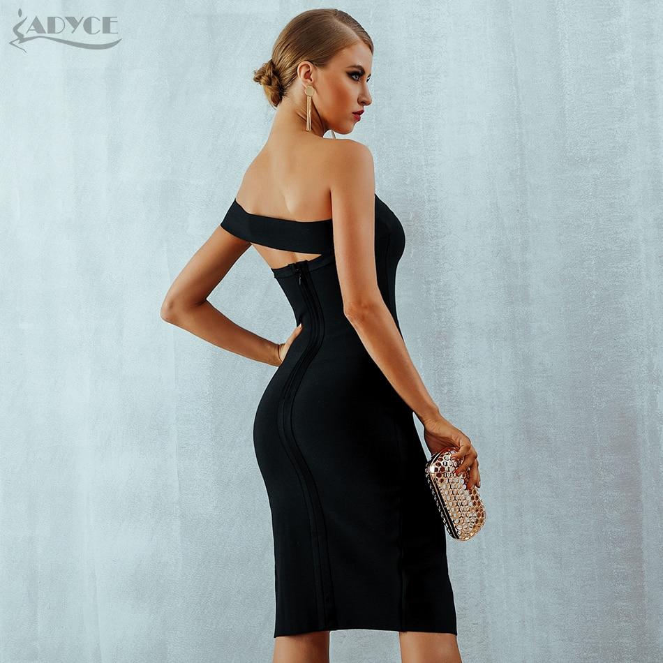 Adyce White Bodycon Bandage Dress Women Vestidos 2019 Summer Sexy Elegant Black One Shoulder Midi Celebrity