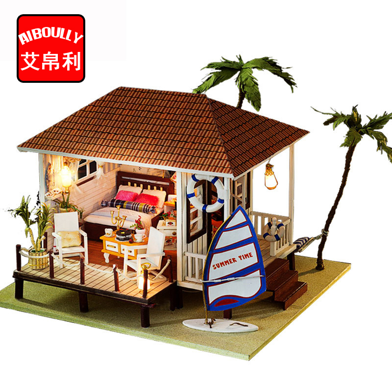 Фотография Seaside House Diy Miniature Wooden Doll House Furniture Kits Handmade Craft Miniature Model DollHouse Toys Gift For Children