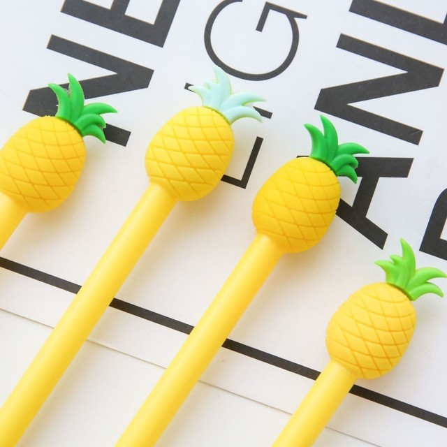 1 Piece Lytwtw's Kawaii Stationery Cute Pineapple Gel Pen Offices School Supplies Gift Black Blue Ink 0.5 mm
