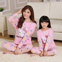 2016 Hello Kitty Family Christmas Pajamas Matching Mother And Daughter Clothes Cotton Long Sleeve Pijamas Pyjamas