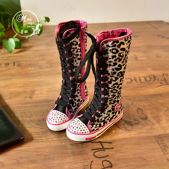 Knee-Length Girls Canvas Sequined Boots Rhinestone Children Boots High  Fashion Sneakers Leopard Kids Boots Canvas Shoes 16043966ea0c