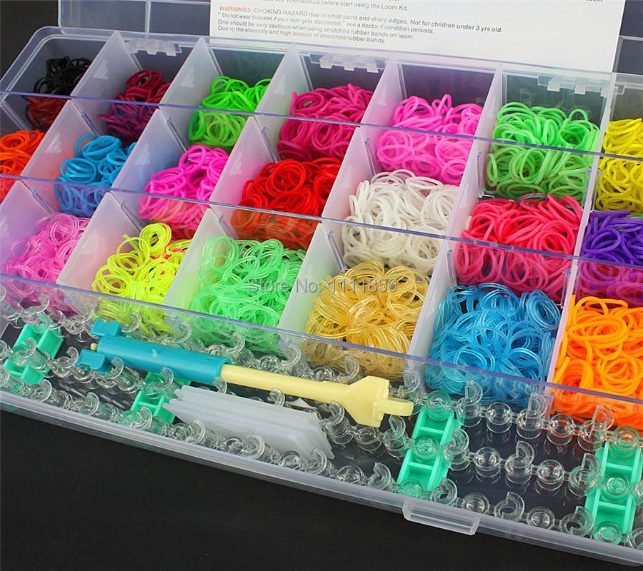 Colorful Crazy Loom Bands Box Make Rubber Band Bracelet