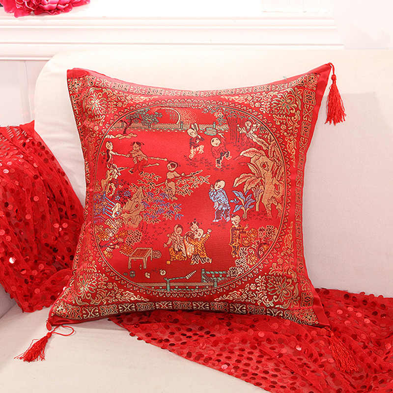 f6dce8356 Wedding Decorative Pillows Case Chinese Culture Style Cushion Cover Home  Decor Red Pillowcase 45x45cm