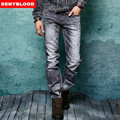 2016 Autum New Arrival Stretch Cotton Denim Slim Straight Mens Jeans 3D Crinkle Snow Wash Dark Washed Jeans Casual Pants 158024