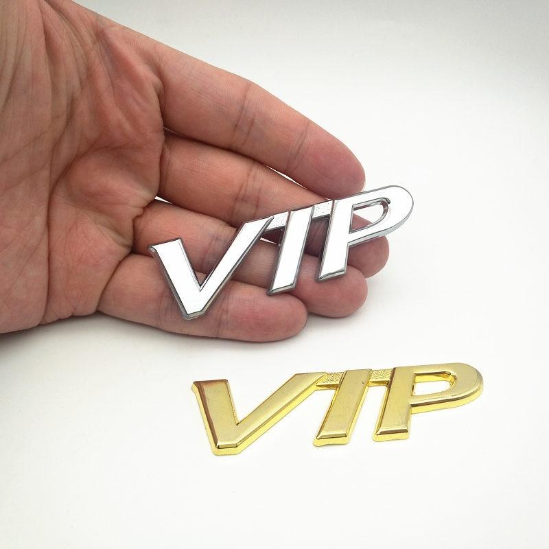 FDIK New 3D Chrome Sliver Gold Metal 3D VIP Logo Decal Sticker Emblem Use For BMW Jeep Honda Car Side Decoration