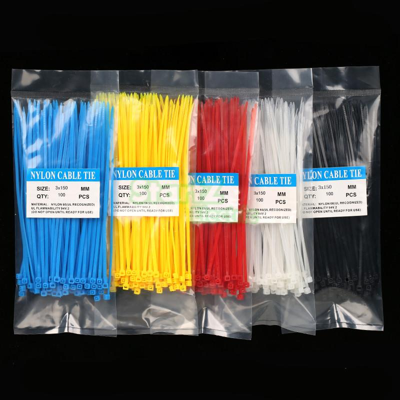 Free Ship Hot 100Qty 3X150MM Self-Locking Cable Zip Ties.cable ties White BlACK Red Blue Yellow Nylon Wire color