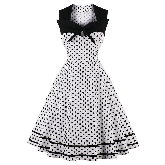 f61037dd08515 Kenancy Plus Size Black Polka Dot Print Women Vintage Dress Summer  Sleeveless Bowknot Retro Dress Cotton Party Dress Vestidos