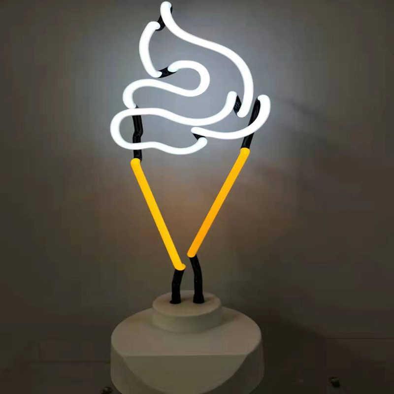 Неоновый СВЕТОДИОДНЫЙ Светильник-ночник, настольная лампа для праздника, вечеринки, украшение дома, фламинго, мороженое, настольная лампа, рождественский подарок, стеклянный неоновый светильник