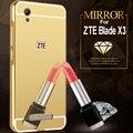 Para zte blade x3 case espelho acrílico tampa traseira de metal de alumínio bumper case para zte a452 x3 v7 lite a610 a510 z9 z11 mini s max