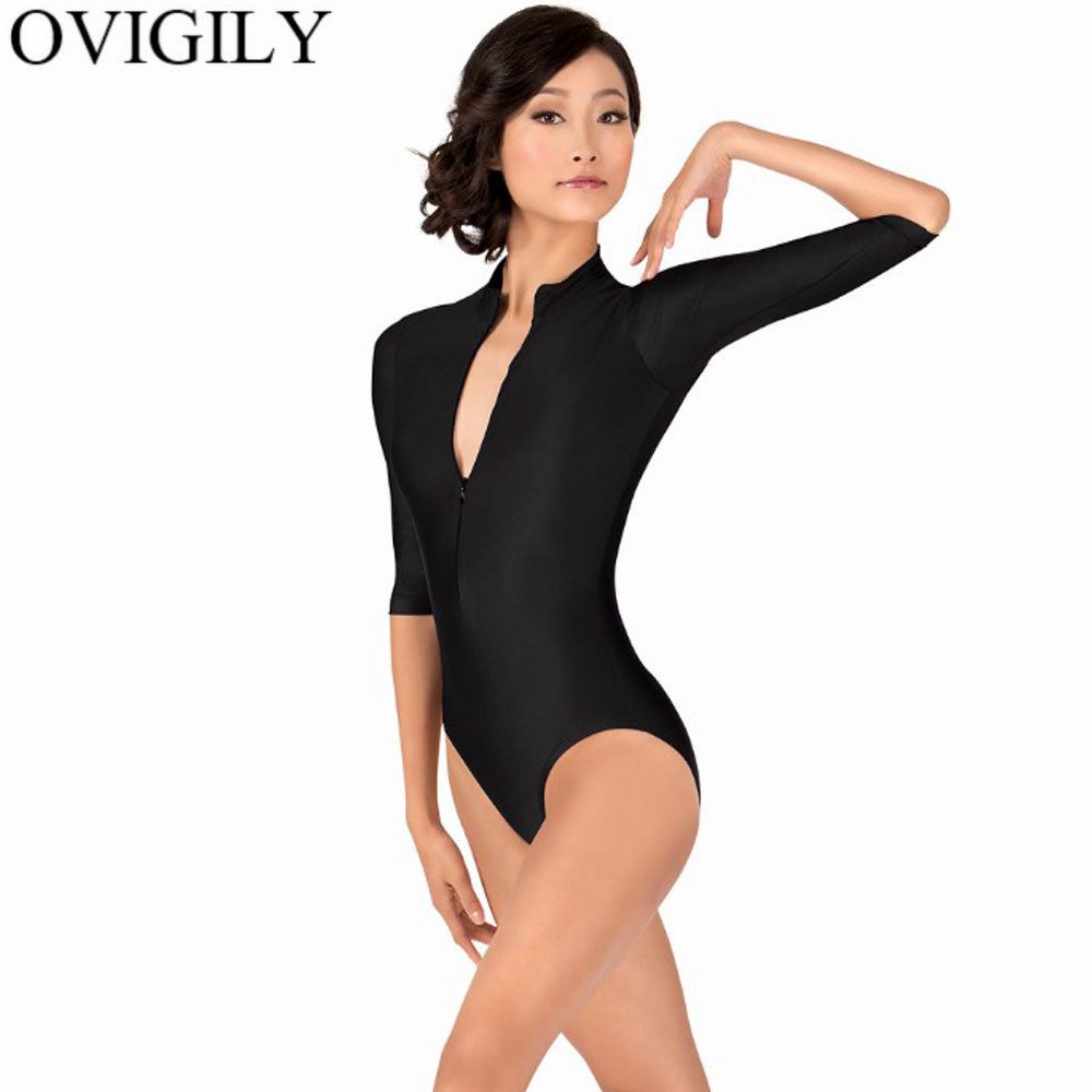 446334a4cd OVIGILY Adults 3 4 Sleeve Front Zipper Leotards For Gymnastics Womens Mock  Neck Ballet Dance Leotard Lycra Turtleneck Bodysuits