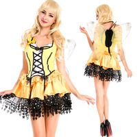 Female Adult Costume Angel Yellow Bee Halloween Cosplay Nightclub Nightclubs Ds Costumes Carnavalskleding Dames