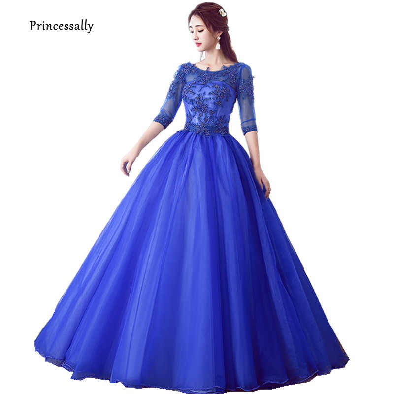 Robe De Soriee Royal blue Evening Dress Ball Gown Beadings Half Sleeve Long Party  Dresses For e9f757facfce