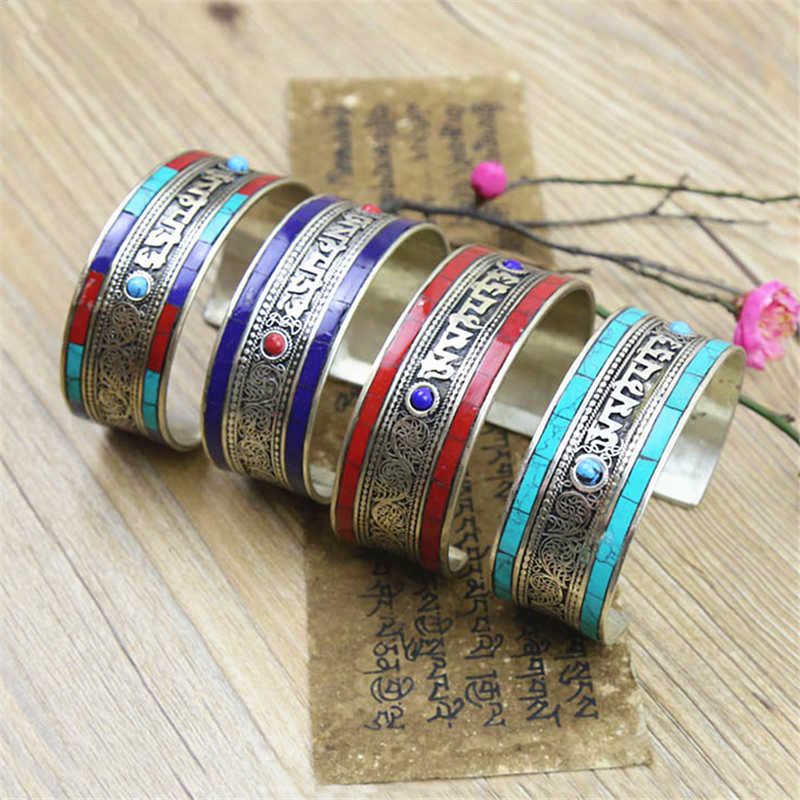 BB-460 Indian Copper Inlay Colorful Stone Bangles Tibetan Mantras Open Cuff OM MANI PAD ME HUM