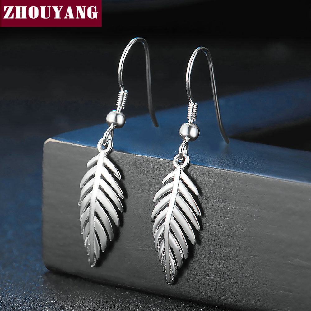 ZHOUYANG 2 Sizes Leaves large/Small Eardrop Dangler 100% Real 925 Sterling Sliver Fashion Jewelry Earrings for Women EY274 EY275
