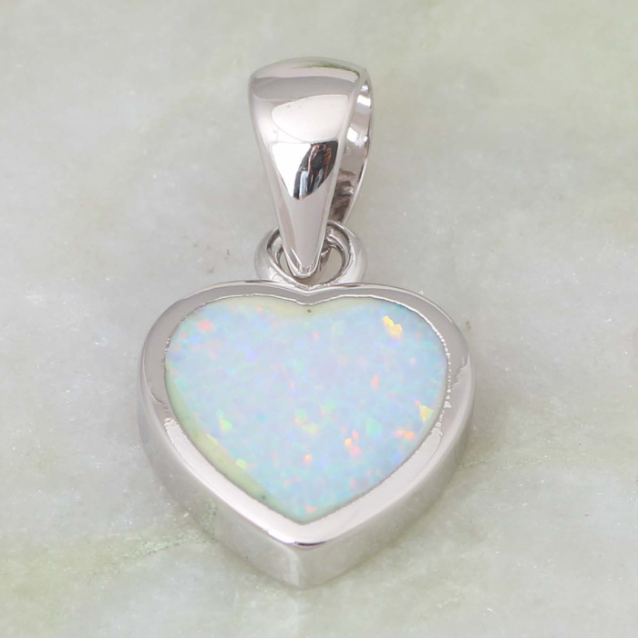 High quality suppliers 925 sterling silver jewelry Fashion Jewelry Heart White Fire Opal pendants P040 DNoI5PZ8V