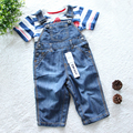 Alta Calidad Marca mamelucos del bebé Infantil niños niñas roupas de bebe Mono Overol de Mezclilla vaqueros niños pantalones vaqueros Del Bebé trajes