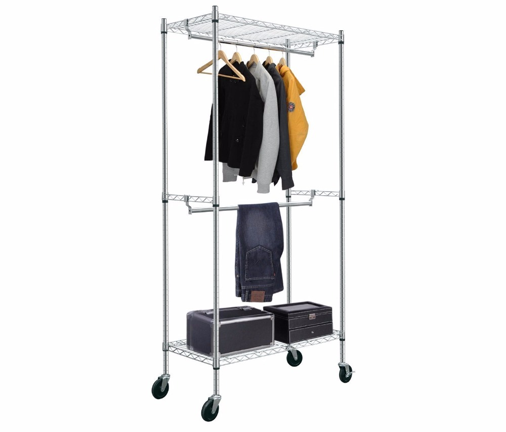 hanging clothes rack hlc rolling heavy duty steel storage shelves clothes 10440