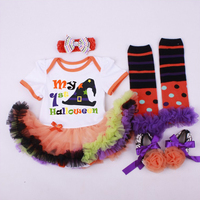 My 1st Halloween Costume Outfits Infant Clothing Set Lace Romper Dress Leg Warmer Shoes Headband 4PCS