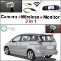 3 in1 Cámara + Receptor Inalámbrico + Monitor Del Espejo Especial DIY Copia de seguridad de Sistema de Aparcamiento Para Mazda Premacy 5 Mazda5 MK2 2005 ~ 2010
