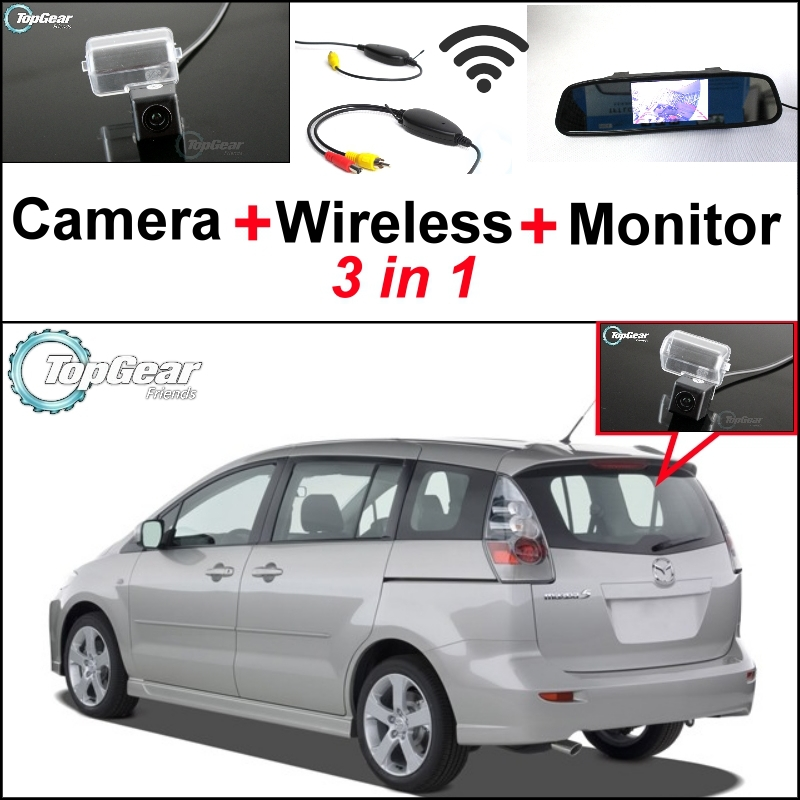 3 in1 Special Camera + Wireless Receiver + Mirror Monitor DIY Back Up Parking System For Mazda 5 Mazda5 Premacy MK2 2005~2010 2011 mazda 5 mazda5 kenstyle after bag double