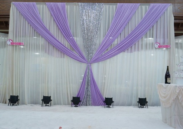 White And Lavender Ice Silk Wedding Backdrop 3m 6m 10ft 20ft