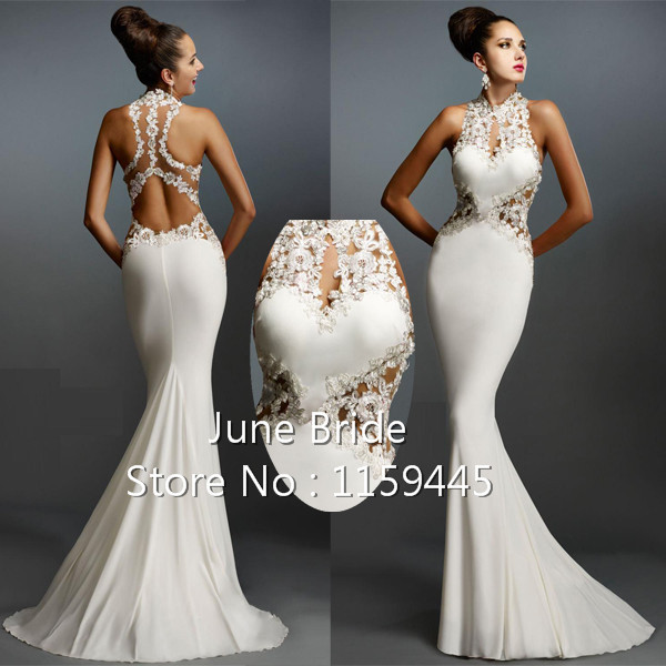 Ivory Fitted Mermaid Evening Dresses Jersey High Collar Backless