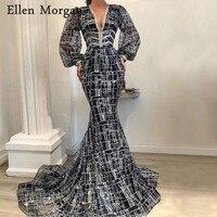 Саудовской Аравии Темно синие Русалка вечерние платья вечерние элегантные для Для женщин долго Sleevess V шеи с блестками вечерние платья 2019