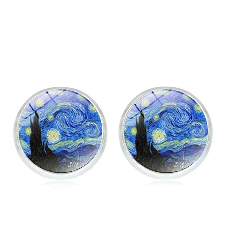 2018 Hot Van Gogh Painting Stud Earrings The Starry Night Ear Studs Van Gogh Sunflowers Round Glass Dome Earrings drop shipping