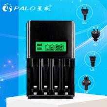 PALO cargador de batería inteligente con pantalla LCD, 4 ranuras, 1,2 V, AA, AAA, batería recargable, NI MH, NI CD, enchufe europeo, australiano, estadounidense y británico