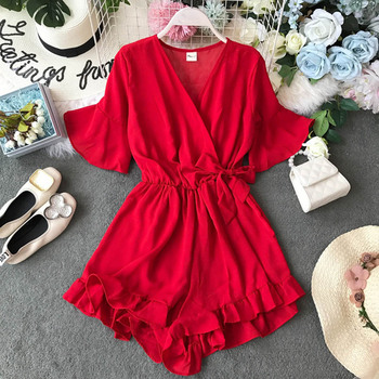NiceMix Sweet Ruffled Women Playsuits Elastic High Waist Bow Female Jumpsuit Romper Butterfly Sleeve Short Overalls for Girls