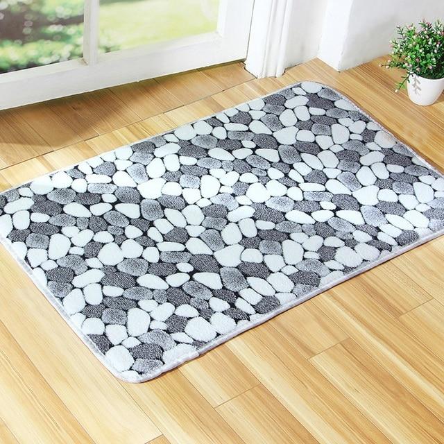 40x60cm Bathroom Mat Thicken Coral Memory Doormat Rug Toilet Pattern Stone Soft Kitchen Bath Non-slip Floor Carpet Machine Wash